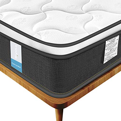 Inofia 9 Inch Twin Mattress, Individually Pocket Spring Hybrid Mattress in a Box CertiPUR-US Certified Foam, Sleep Cool, Pressure Relief & Supportive,Twin Size