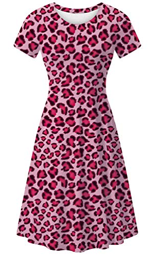 - uideazone Summer Comfy Short Sleeve Leopard Printed Sundress Going Out Dresses for Women