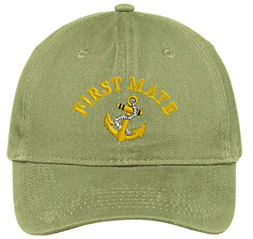 First Mate with Ships Anchor Embroidered Low Profile Ball Cap - Olive Green ()