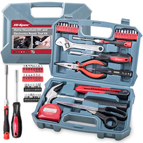 Electrical Kit Tool Basic - Hi-Spec 49pc Home Tool Kit with Electronics Repair Tools, Precision Screwdriver Bits & Bit Driver, Voltage Tester, Claw Hammer, Adjustable Wrench & Hand Tools DIY & Electrical General Tool Set in Box