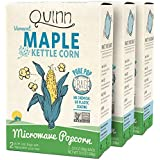 Quinn Snacks Microwave Popcorn - Made with Organic Non-GMO Corn - Great Snack Food for Movie Night - Maple Kettle Corn, 7 Ounce (3 Count)