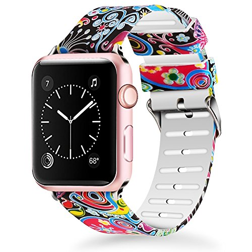 Lwsengme Compatible for Apple Watch Band 38mm 40mm, Soft Silicone Replacment Sport Bands iWatch Series 4 Series 3 Series 2 Series 1 - Pattern Printed (Flower-3, 38MM/40MM)