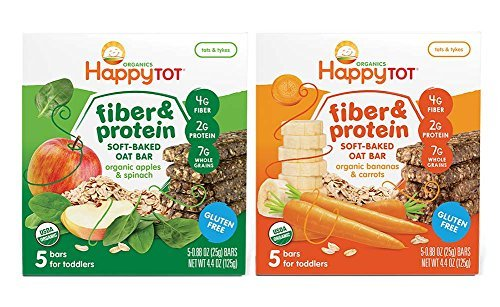Happy Baby Tot Fiber and Protein Organic Soft-Baked Oat Bar Bundle: 1 Box of Apples & Spinach, 1 Box of Bananas & Carrots(2 boxes total) (Organic Apple Bar)