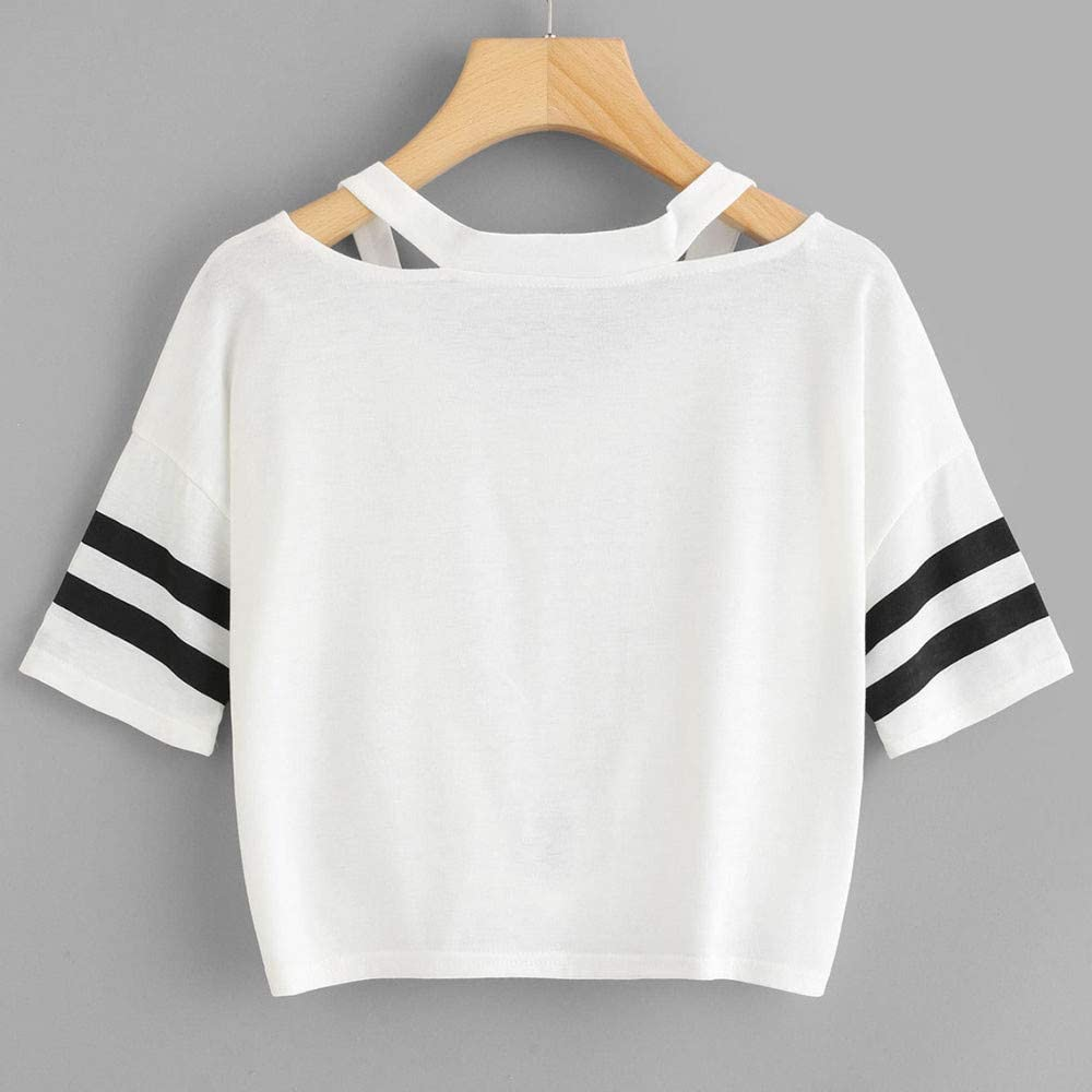 Meikosks Womens Short T-Shirt Print Strappy Tops Short Sleeve V Neck Blouses Casual Pullover