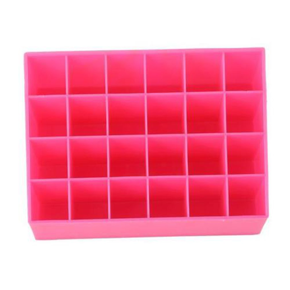Hengsong 24 Trapezoid Makeup Case Cosmetic Display Lipstick Stand Holder Jewelry Storage Rack (Hot Pink) Mei_mei9
