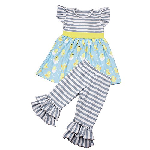 Little Girls Summer Outfits Kids Print Chicken Flutter Sleeve Dress Stripe Shorts Clothing Sets 5T Grey -