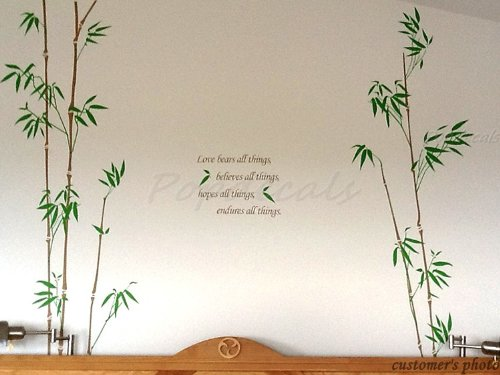 Four Oriental big bamboo (Dark Brown and Leaf Green) - 71 in tall - Beautiful Tree Wall Decals for Kids Rooms Teen Girls Boys Wallpaper Murals Sticker Wall Stickers Nursery Decor Nursery Decals