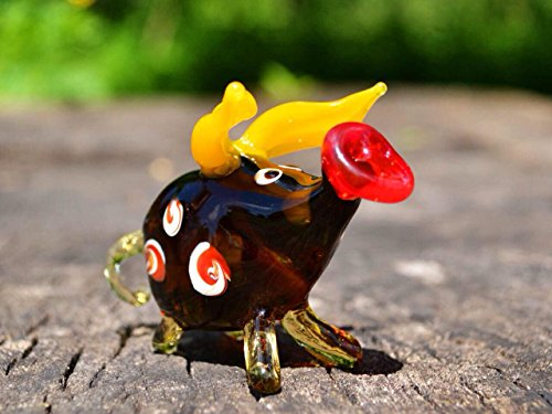 Yellow Glass pig figurine animals glass pig miniature art glass pigs toy murano piggy animals pig figure glass gifts pigs (Murano Glass Pig Figurine)