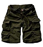 FOURSTEEDS Women's Cotton Loose Fit Multi-Pockets Camouflage Casual Twill Bermuda Cargo Shorts with Belt Army Green US 2