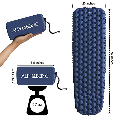 AlphaBeing Camping Sleeping Pad – Ultralight Inflatable Mat for Hiking, Backpacking Air Mattress – Portable Compact Sleep Pads