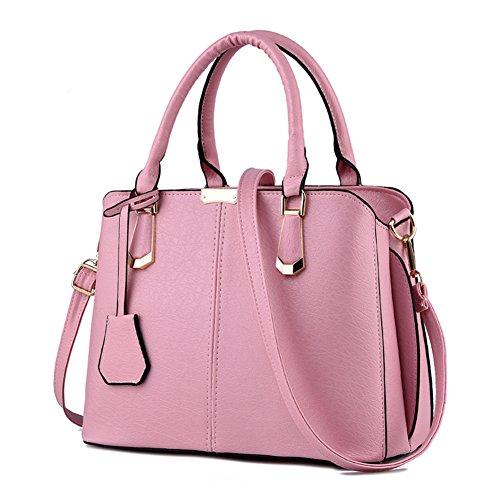 Pink Purses (Pahajim women handbags PU leather top handle satchel tote purse shoulder bags (pink))