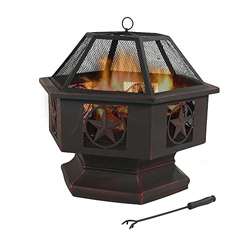 Sunnydaze 28 Inch Hexagon, Six Star Fire Bowl with Spark Screen, Sienna Finish