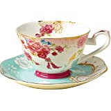 Fu goods Royal Style Bone china Peach blossom red formal Teacup and Saucer 8 ounces Set (cup05)