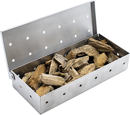 - Sorbus Smoker Box for Wood Chips - Adds Smokey BBQ Flavor on Gas or Charcoal Grills - Ideal Grilling Accessories for Barbecue Meat Smoking - Hinged Lid - Heavy Duty Stainless Steel