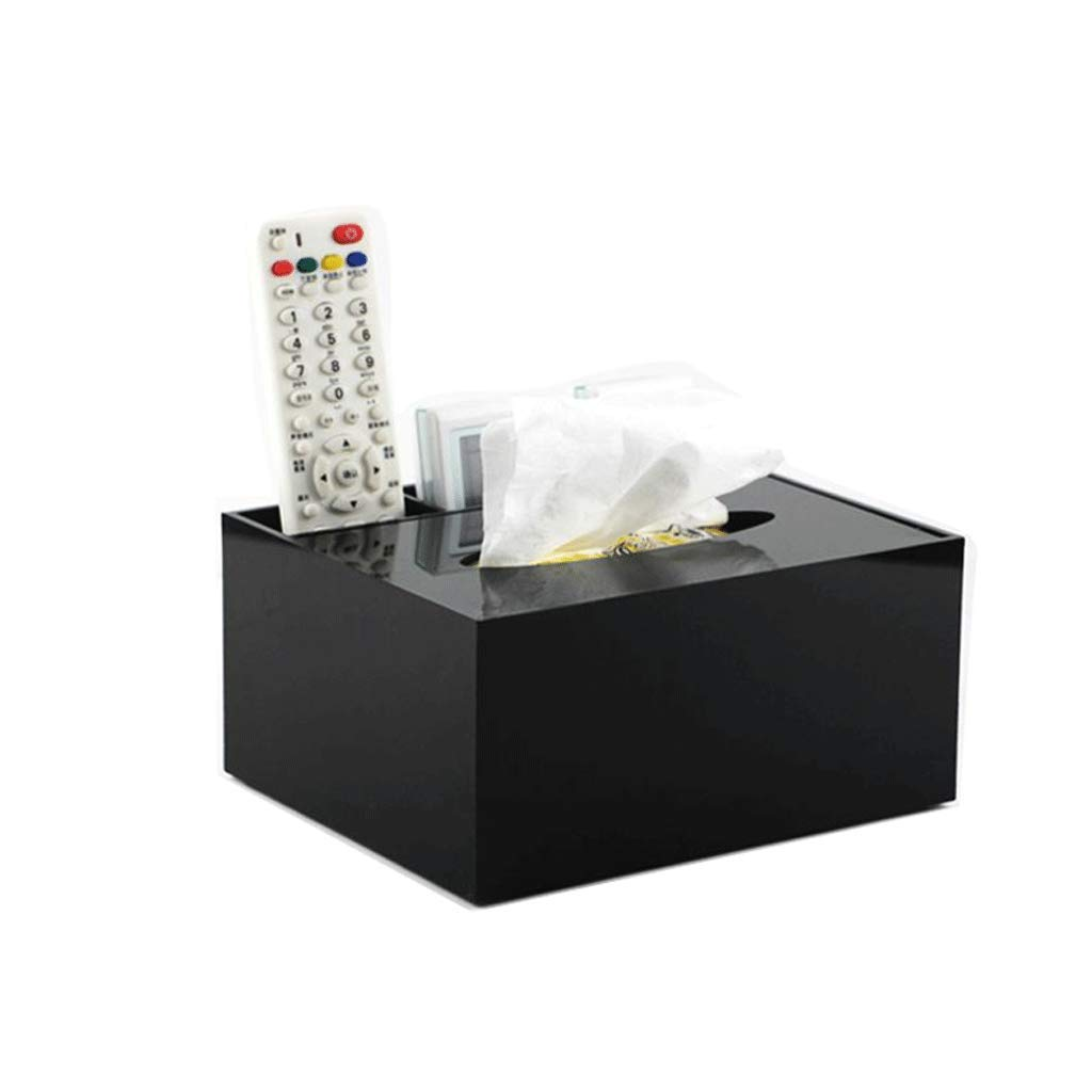 ZYN Tissue Box- Multifunction Black Acrylic Living Room Coffee Table Remote Control Storage Box Household Tray