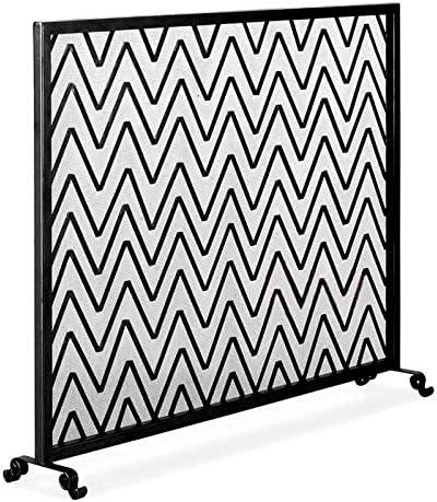 新作入荷 暖炉スクリーン リップルストライプ装飾錬鉄製の金属火の場所立っている鉄筋の暖炉の上の暖炉の画面 国内正規総代理店アイテム  暖炉フェンダー Color Black :