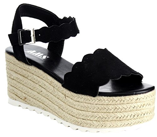 AMS Emma-23 Mary Jane Espadrille Platform Wedge Flatform Open Toe Sandal Black 7.5 (Toe Platform Mary Open Janes)