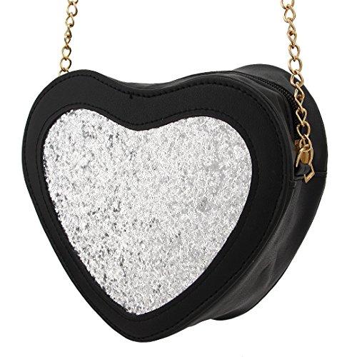 Hermora Hologram PU Leather Cute Heart Shape Bag Shiny Chain Shoulder Handbag Evening Bag Crossbody Purse Bags for Women & - Cute Heart Shape