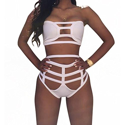Women's Sexy Bind Hollow out Bikini Hight Waist Bandage Bodycon Swimsuit Swimwear (White)