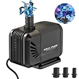 Small Submersible Water Fountain Pump 667GPH (2500L/H) - Mini Amphibious Aquarium Pump Fish
