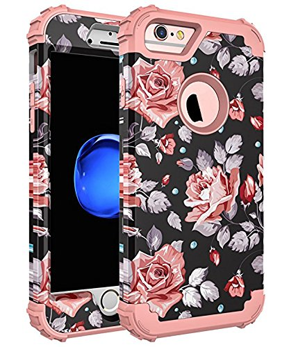 SKYLMW Case for iPhone 6 Plus, Case for iPhone 6s Plus, Three Layer Heavy Duty High Impact Resistant Hybrid Protective Cover Case for iPhone 6 Plus/6s Plus, Rose Flower/Rose Gold
