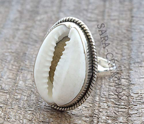925 Sterling Silver Cowrie Shell Rings - Cowdy Shell Ring For Gift Women Girl All US SIze 4 5 6 7 8 9 10 11 12