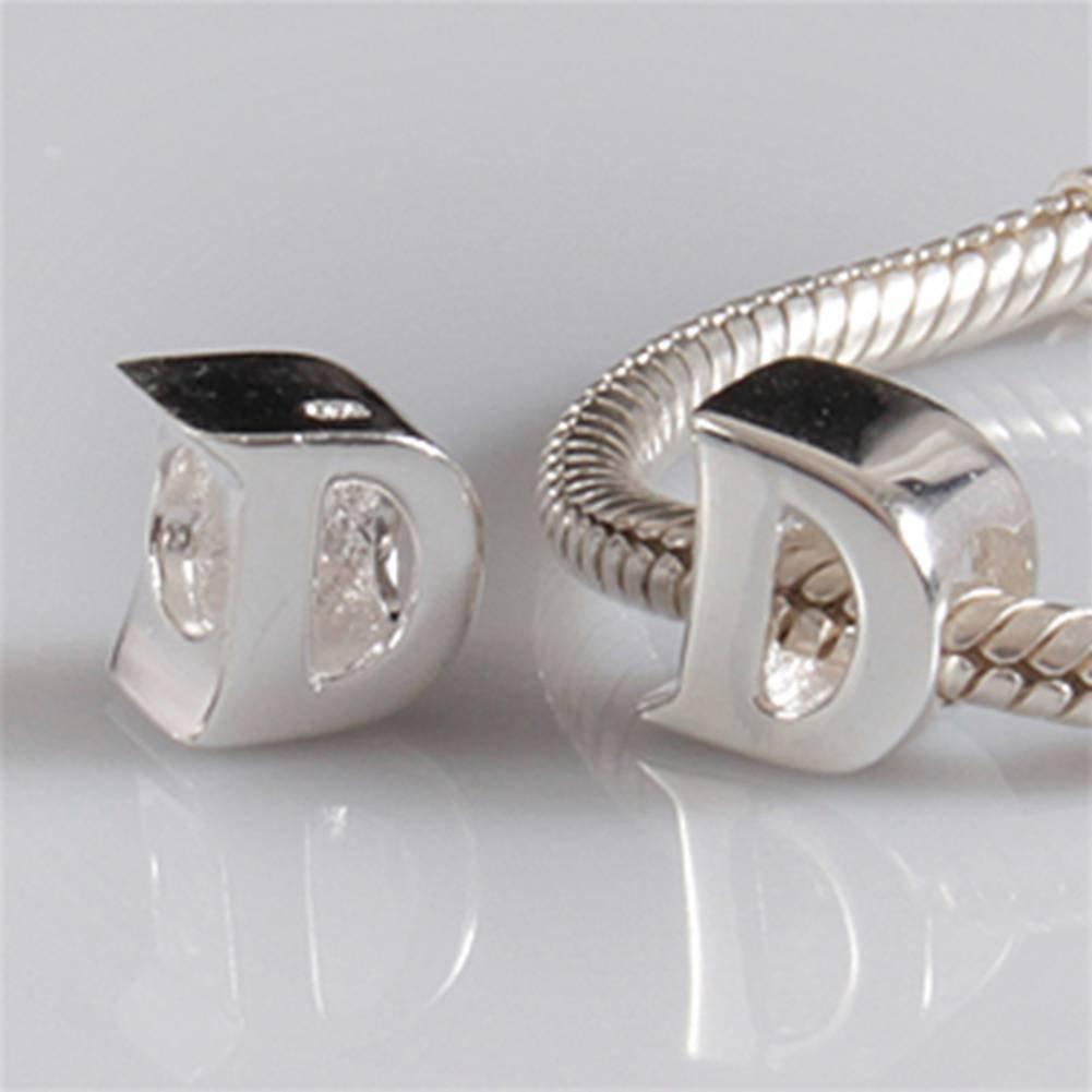 Compatible avec bracelet europ/éen Argent sterling 925/authentique Breloque en forme de lettre de lalphabet