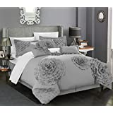 Chic Home 7 Piece Belinda Oversize Filled Floral and Rose Pleated Etched Applique Comforter Set, King, Silver