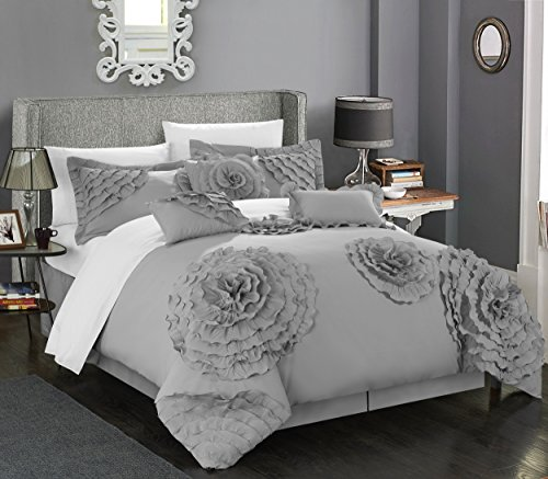 Chic Home 7 Piece Belinda Oversize Filled Floral and Rose Pleated Etched Applique Comforter Set, Queen, Silver (Comforter Sets Platform Bed)