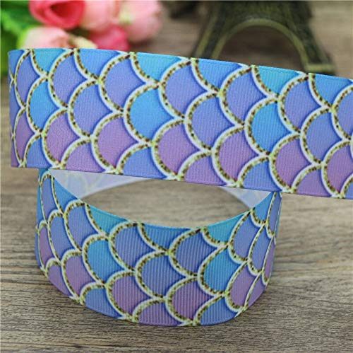 Best Quality - Ribbons - 1.5'' 50yards Mermaid Fish Scale Printed Grosgrain Ribbon Accessory hairbow Headwear Decoration DIY Wholesale 38mm S960 - by Olwen Shop