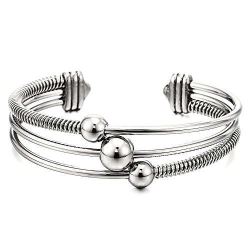 COOLSTEELANDBEYOND Three-Row Womens Stainless Steel Adjustable Open Cuff Bangle Bracelet with Cable and Ball Charms
