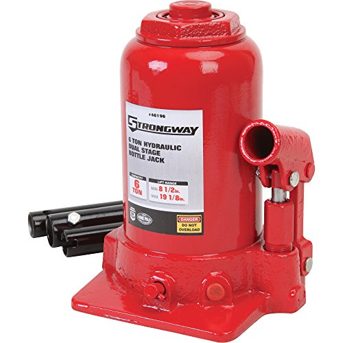 Strongway Hydraulic High Lift Double Ram Bottle Jack - 6-Ton Capacity, 8 1/2in.-19 1/8in. Lift Range