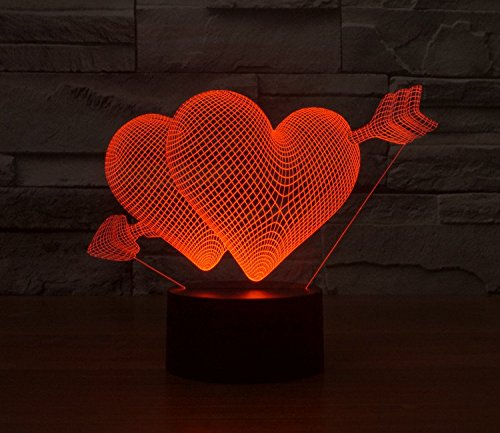 Heart Love Hologram LED Night Light Lamp - Color Changing