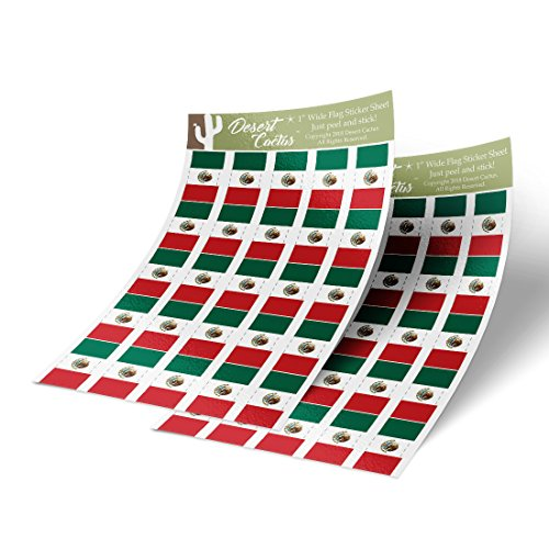 (Mexico Country Flag Sticker Decal 1 Inch Rectangle Two Sheets 50 Total Pieces Kids Logo Scrapbook Car Vinyl Window Bumper Laptop Mexican R)