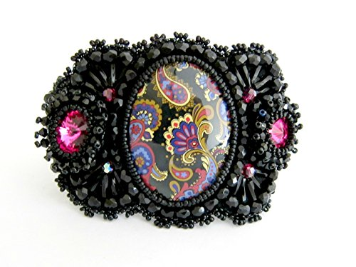 Bead Embroidered Bracelet Cuff