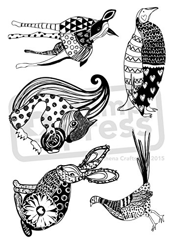 Amazon Azeeda A60 'Patterned Animals' Unmounted Rubber Stamp Cool Patterned Animals