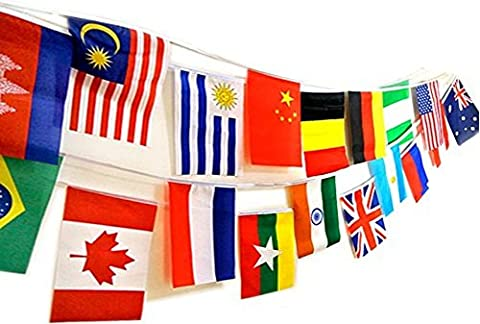 SPJ: International String Flags 50 Country Cloth Banner Length 49feet Colorful Various Party Events Olympic Decorations (11.8'' × 7.8'' - Cloth Flag