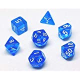 7 Pieces Transparent Polyhedral Dice Blue