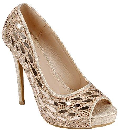 Heel Womens Dress (Women Champagne Open Toe Feather Sparkle Crystal Pearl Rhinestone Glitter Formal Evening High Heel Dress Pumps-8)