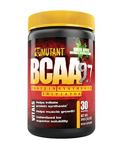 MUTANT BCAA Powder 9.7, Branched Chain Amino Acids with L-Arginine Electrolytes for Muscle Building and Nitric Oxide Enhancement, Green Apple, 30 Servings