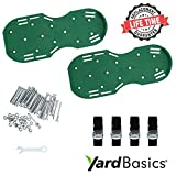 Yard Basics Aerator Shoes - Effective Heavy Duty Comfortable Lawn Aerator Shoes a Greener Lawn, 4 Metal Buckles Strong Adjustable Nylon Straps. A One Size Fits All Lawn Grass Aerator.