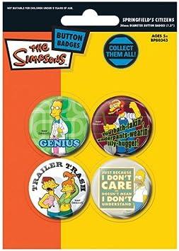 Los Simpson Chapas Pin Set (Pack de 4 Pins) - Springfield Citizens 2 Pyramid International: Amazon.es: Juguetes y juegos