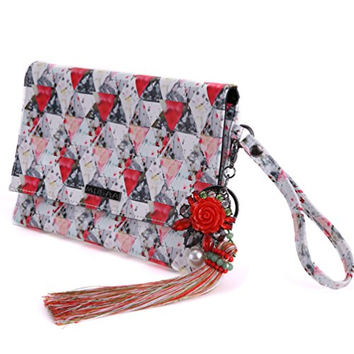MUSAA Printing Design Handbag PU Leather Makeup Bag Cosmetic Bag Wallet Phone Bag With Flower Pendant Keychain (Red) from MUSAA