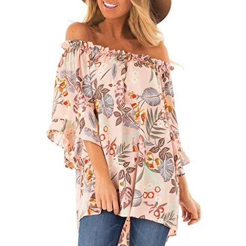 NCCIYAZ Womens T-Shirt Off Shoulder Flower Leaves Print Short Sleeve Tunic Top Plus Size Ladies Beach Blouse(2XL(16),Peach)