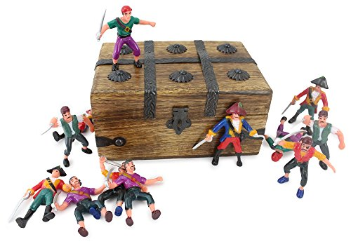 Pirate Treasure Chest Playset (WellPackBox Wooden Pirate Chest Box Filled 12 Action Figures Toys Buccaneers Boys Gift)