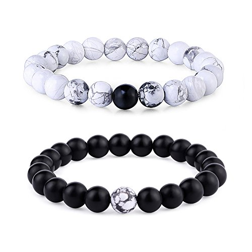 Byson 2 Pcs Couple Distance Relationship Bracelets Black Matte Agate & White Howlite Energy Beads Stone Ying Yang Balance Bracelet Banglet for Lovers]()
