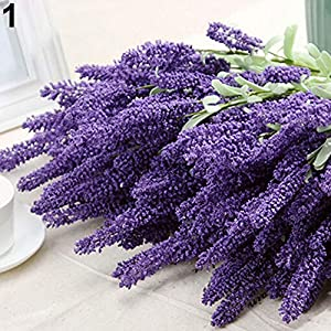 WskLinft Artificial Lavender Flower Leaves Bouquet Home Wedding Garden Decor 12 Heads - Dark Purple 64