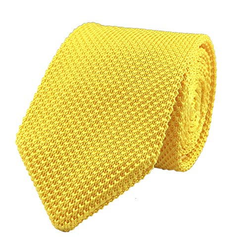 (Mens Gold Sun Yellow Slim cut Knit Neck Ties Unique Fashion Winter Necktie Gift for Husband)