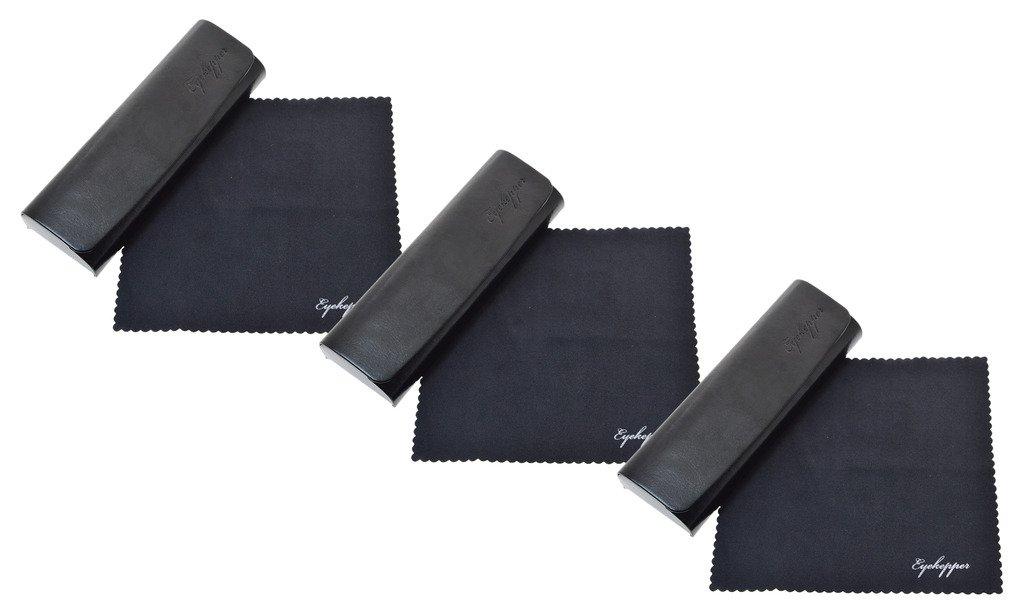 Eyekepper Gli uomini donne Metallo occhiali caso con panno morbido in microfibra Scatola occhiali (Nero, 1pc)