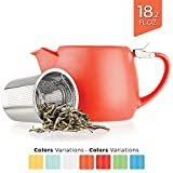 Tealyra - Pluto Porcelain Small Teapot Orange - 18.2-ounce (1-2 cups) - Matte Finish - Stainless Steel Lid and Extra-Fine Infuser To Brew Loose Leaf Tea - Ceramic Tea Brewer - 540ml